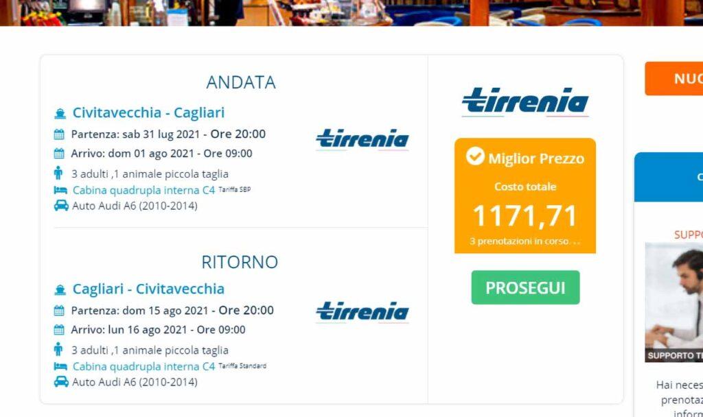Biglietto Tirrenia. Faita Federcamping Sardegna