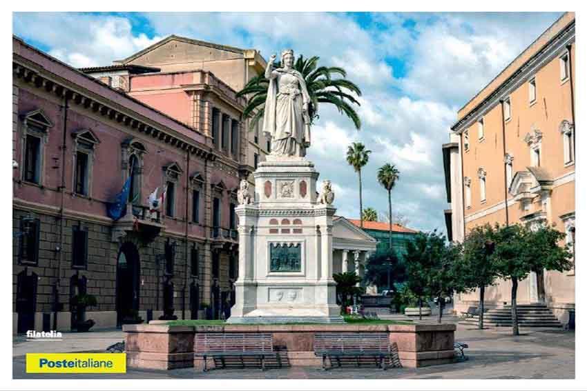 """annullo filatelico e cartolina dedicati al """"Monumento a Eleonora d'Arborea"""""""