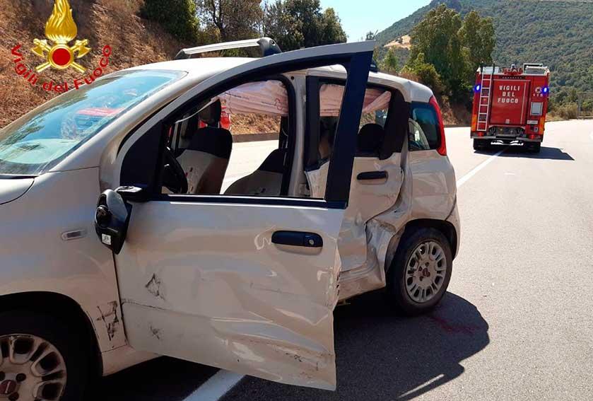 La Fiat panda coinvolta nell'incidente di Jerzu